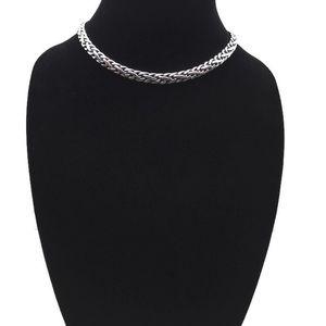 Lauren Ralph Lauren Silver toned Braided Collar 16